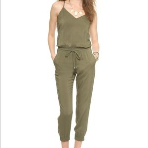 Splendid Green Woven Cami Jumpsuit - Dusty Olive